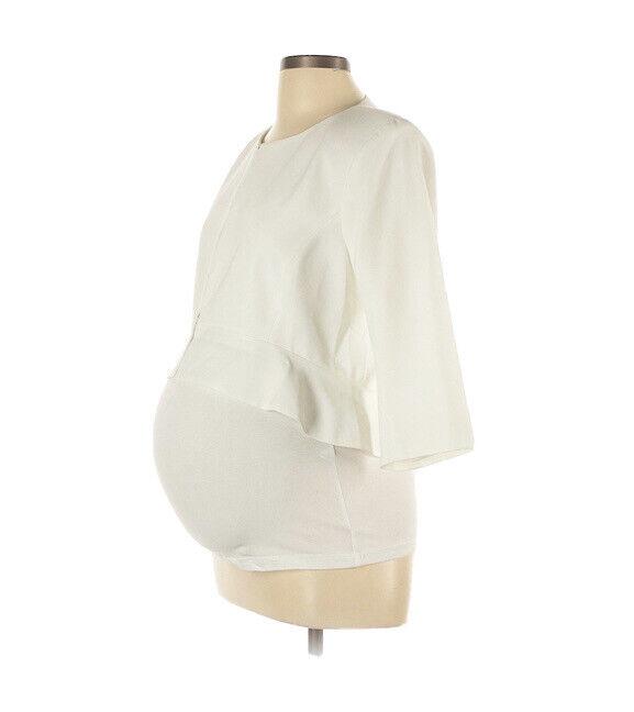 NWT Seraphine Luxe White Ivory Maternity Jacket 3/4 Sleeve Size 12 Wedding