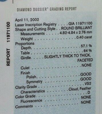 GIA Certified .40 ct VS2 D 4.82-4.84x2.76mm loose round natural diamond NEW