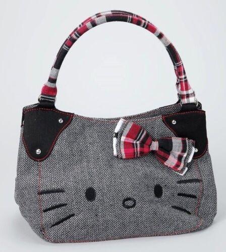Sanrio Hello Kitty Black & White Herringbone Handbag Tote Purse