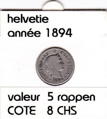 S 1) pieces suisse de 5  rappen de 1894   voir description