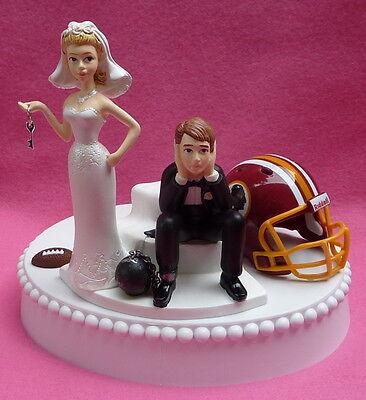 Wedding Cake Topper Washington Redskins Football Key Themed Unique Groom's Top (Redskins Cake)