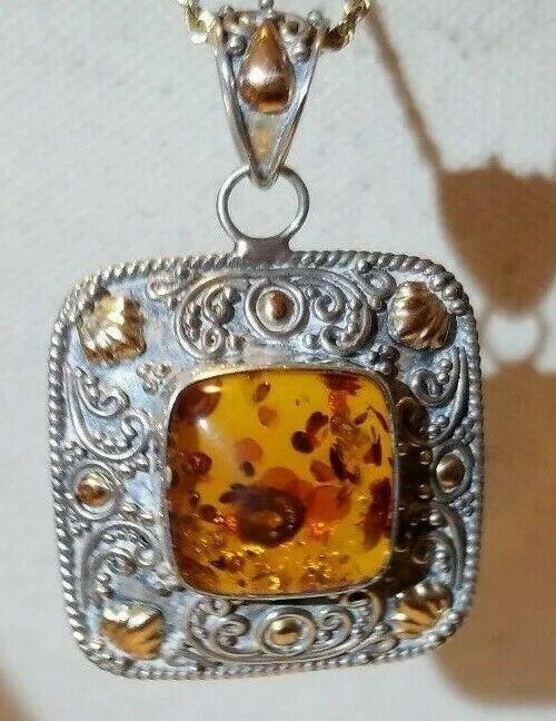Samuel B Benham BJC Amber, Filigree .925 Sterling Silver 14k Yellow Gold Pendant
