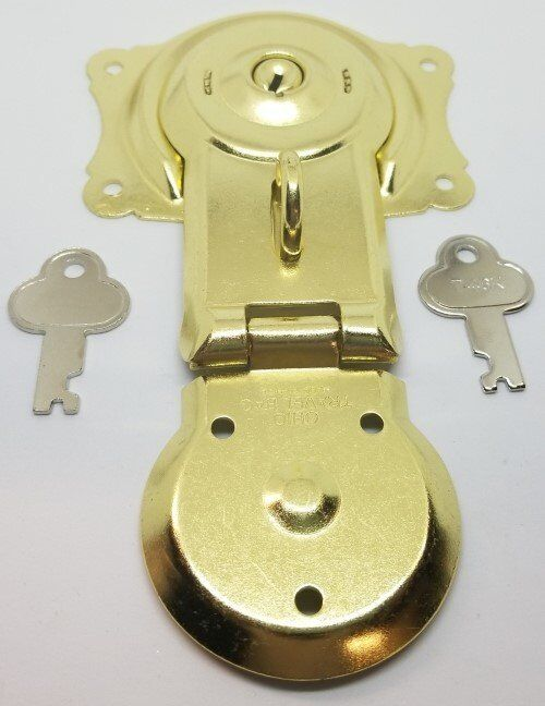 Polished Brass Trunk Lock with Keys chest steamer antique vintage rustic gold