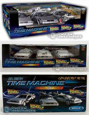 Back to the Future Trilogy Pack diecast set de 3 DeLorean I II & III Welly 1/24
