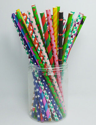 Halloween Paper Straws (25 PCS Festival Patterns Paper Drinking Straws Halloween Valentine Christmas)