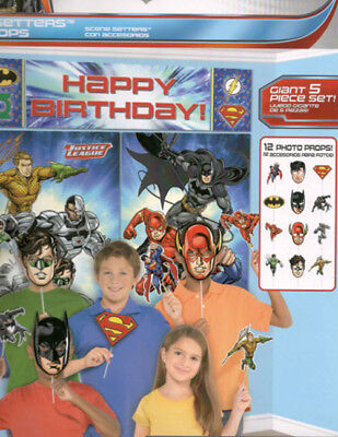 JUSTICE LEAGUE Scene Setter birthday party kit 12 photo booth props SUPERHEROES - Superhero Photo Props