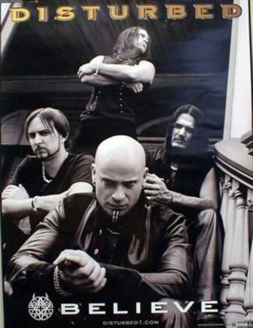 Disturbed 2002 Believe promotional poster New Old Stock Flawless Condition
