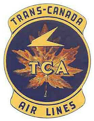 Tca    Trans Canada   Airlines    Vintage Looking   Sticker Decal Luggage Label