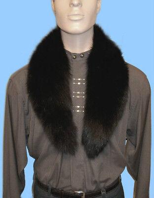 New MENS GENUINE BLACK FOX FUR COLLAR - SCARF - NECK WRAP 37 inch length