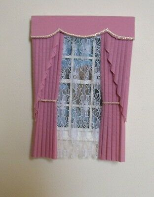 DOLLS HOUSE CURTAINS DUSKY PINK SWAG EFFECT