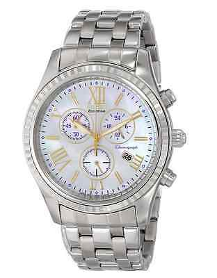 NWT Ladies Citizen FB1360-54D AML Eco-Drive MOP Chronograph Stainless Watch