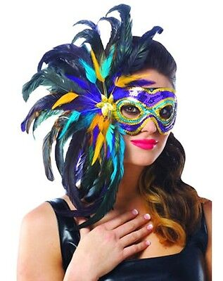 MARDI GRAS PURPLE BLACK GOLD SEQUIN FEATHER MASQUERADE VENETIAN COSTUME MASK