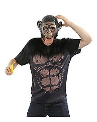 APE - MONKEY EASY GRAB & GO NO HASSLE  ADULT HALLOWEEN COSTUME MASK NEW SZ LARGE
