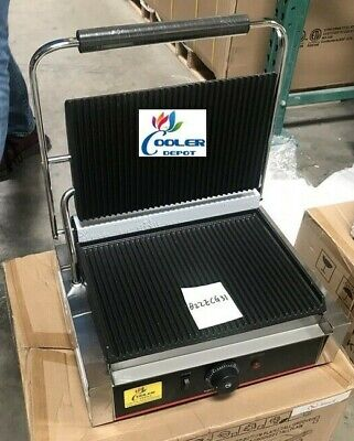 New Panini Sandwich Press Wide Grill Large Groove Surface Restaurant Cafe 110v
