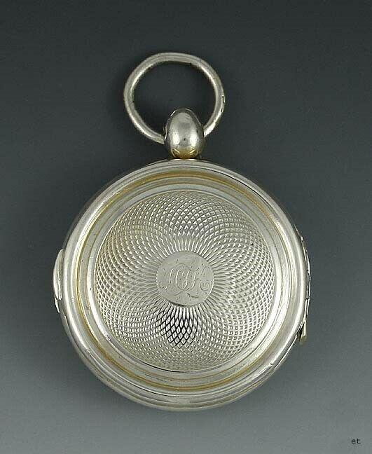 1834 English Sterling Silver Watch Case Form Vinaigrette Scent Box
