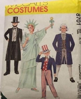McCalls Historic Statue Liberty Abe Lincoln Uncle Sam Costume Pattern 8701 Small for sale  Clinton