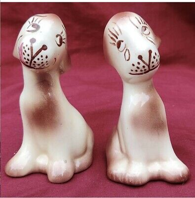 Pair of Vintage Ceramic Dogs Hand Painted Mid Century