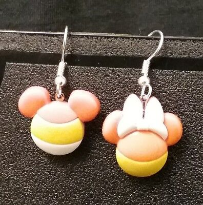 Mickey & Minnie Mouse Thanksgiving Earrings Disney Candy Corn Fall Autumn