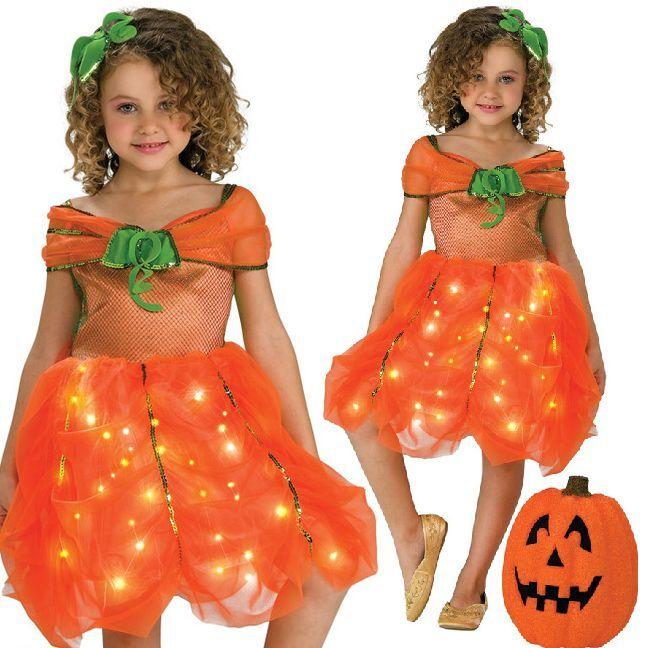 Twinkle Light Up Orange Pumpkin Girls Halloween Fancy Dress Kids Child Costume