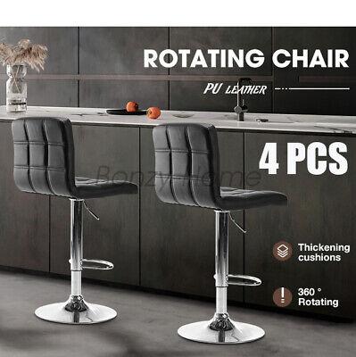Set Of 4 PCS Adjustable Bar Stools PU Leather Barstools Swivel Pub Chairs Black