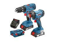 Brand New Bosch GSB 18V-21 & GDX 18V-180 (2x 2.0Ah) Cordless Combi in L-BOXX 06019G5272 Drill SET