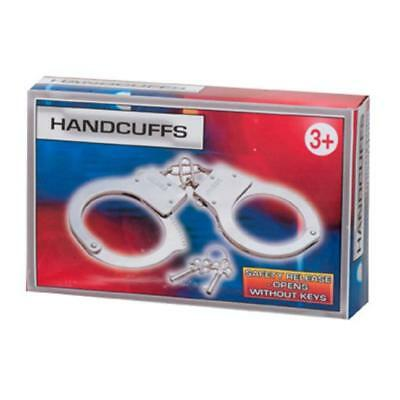 KIDS TOY METAL HANDCUFFS HAND CUFFS POLICE FANCY DRESS CHILDRENS PRETEND PLAY - Metal Kids Kostüm