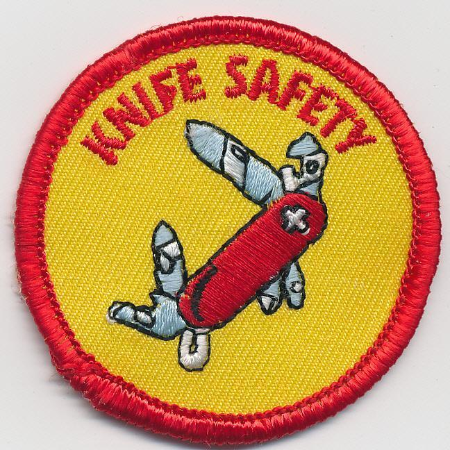 Girl Boy Cub KNIFE SAFETY Knives Skills Fun Patches Crests Badges SCOUTS GUIDE