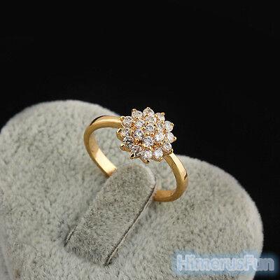 (Finger Ring  Women Fashion 18K Yellow Gold Plated Zircon Flower Rhinestone )