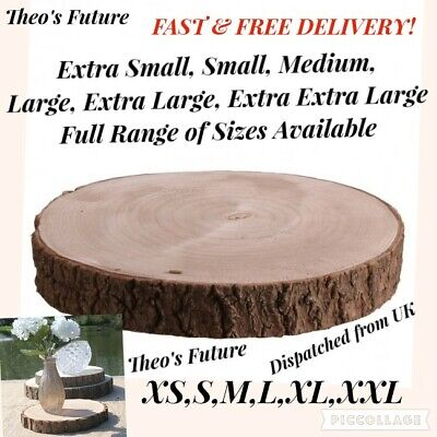Natural Wood Log Slice Tree Bark Rustic Wedding Table Centerpiece Cake Stand - Natural Log Table
