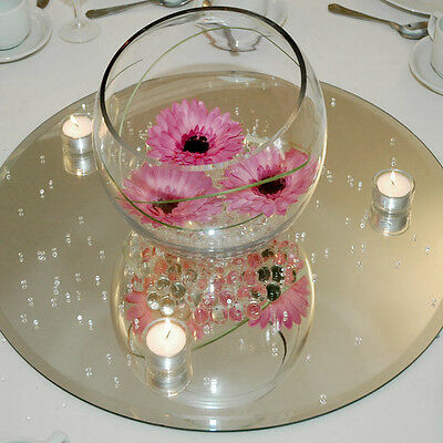 Centerpiece Base (Clear Mirror Base for Centerpieces, Round,)