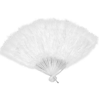 WHITE 45cm FEATHER FAN BURLESQUE HEN NIGHT DANCE FANCY DRESS OUTFIT (Burlesque Fan Dance Kostüme)