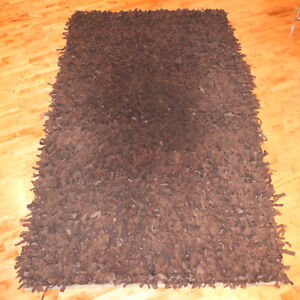 SUEDE Leather Shag 5' x 8' Area Rug