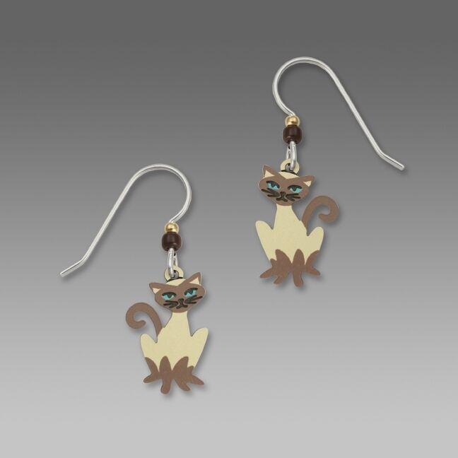 Siamese Cat Earrings, Meezer with Blue Eyes, cat fancier gifts, MEOW!
