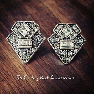 Stunning vintage art deco Gatsby white crystal statement stud earrings