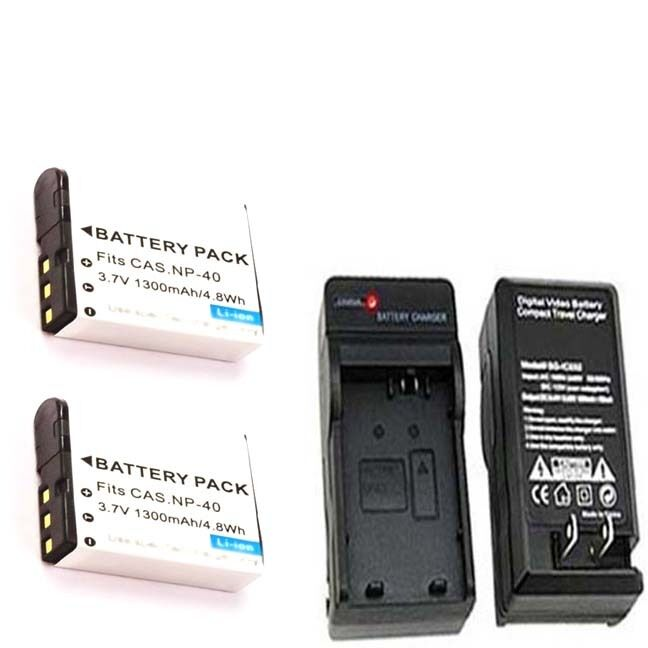 Snapit 2X Batteries NP-40 NP-40DBA + Charger For Casio EX-FC100 EX-P505 EX-P600 EX-Z100