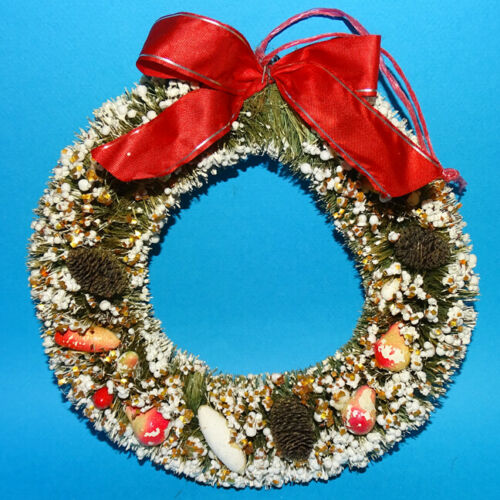 Vintage Flocked Bottle Brush Christmas Wreath Japan 1950s Mini Pine Cones Fruit