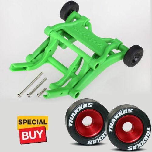 Traxxas Green Wheelie Bar/Red Alum Wheels & Rubber Tires: St