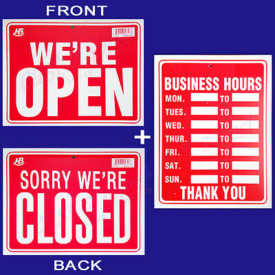 2 Signs  1 Business Hours 1 Were Open Sorry Were Closed 9x12 Plastic