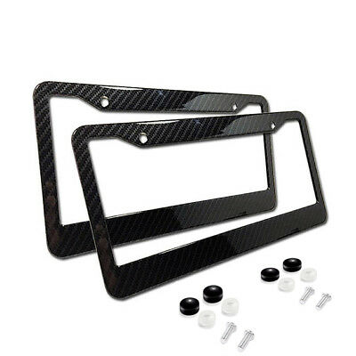 2xUniversal Carbon Fiber Style License Plate Frames for Front & Rear