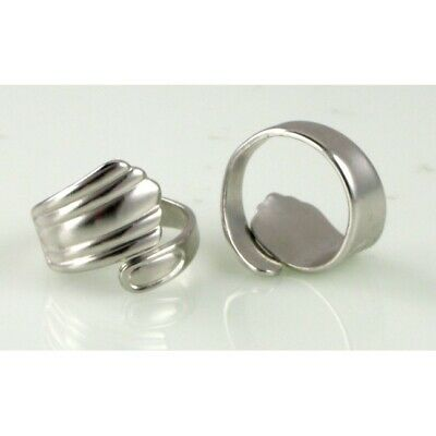 Wholesale Bulk Lot 8 Silver Plated Spoon Style Rings Adjustable