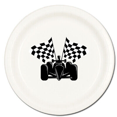 Race Fans Racing Party Supplies CAR & BLACK / WHITE CHECKED FLAGS DINNER PLATES - Checkered Flag Paper