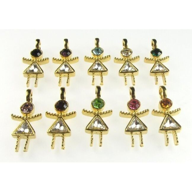 Wholesale Lot 10 VTG Retro Gold Plated Austrian Crystal Rhinestone Girl Charms