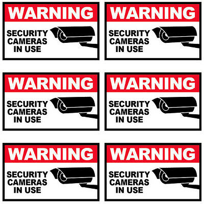 3x5 Inch Decal Sticker Cctv Alarm Sign - Warning Security Cameras In Use 6 Pack