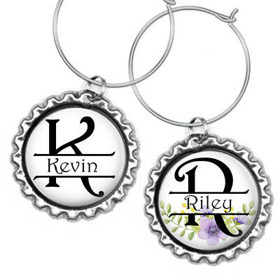 Personalized Initials & Names Bottle Cap Wine Glass Charms His & Hers Beer Mugs - Personalized Wine Glass Charms