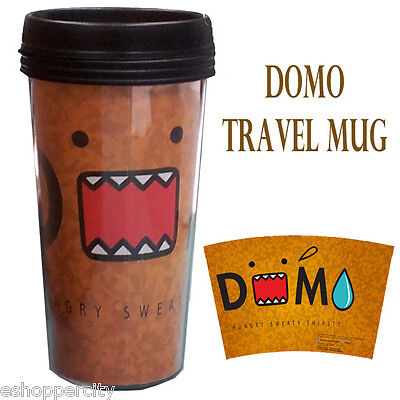 DOMO 16 oz Travel Plastic Coffee Mug Liscensed Product Gift Light Brown Japanese ()