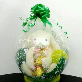 "Easter stuffed balloon 18"" bunny and chocolate gift"
