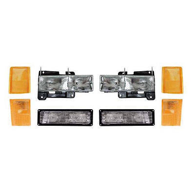 New 8 Piece Headlight Set for Composite Lamp Models Fits 88-93 Chevy Pickup