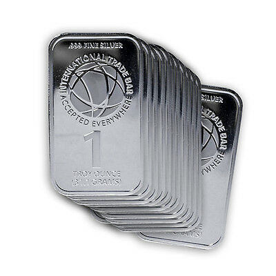 Lot of 20 - 1oz Silver International Trade Bullion Bar