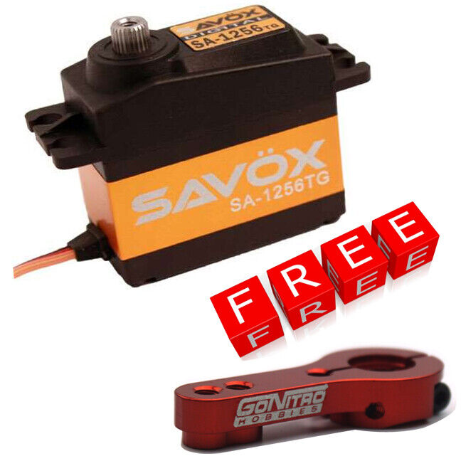 Savox SA-1256TG High Torque Titanium Gear Digital Servo w/Free Red Alum Horn
