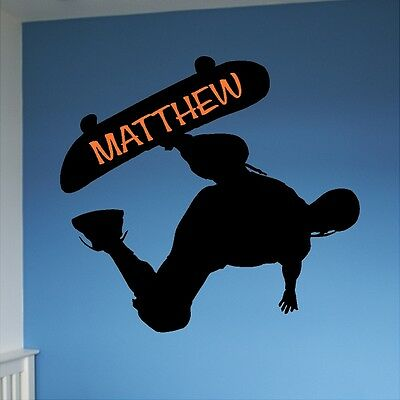 Home Decoratig Personalized Skateboard Wall Decal Removable Wall Lettering Home Decorating Color Scheme